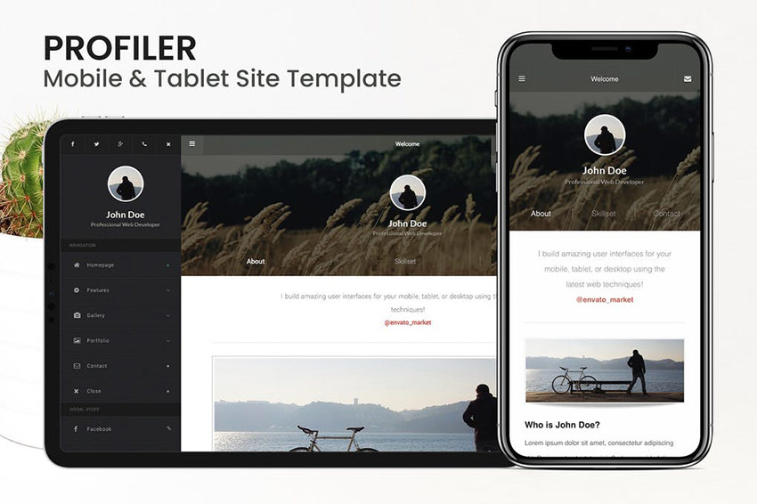 Profiler Mobile HTML Resume CV Code Site Template