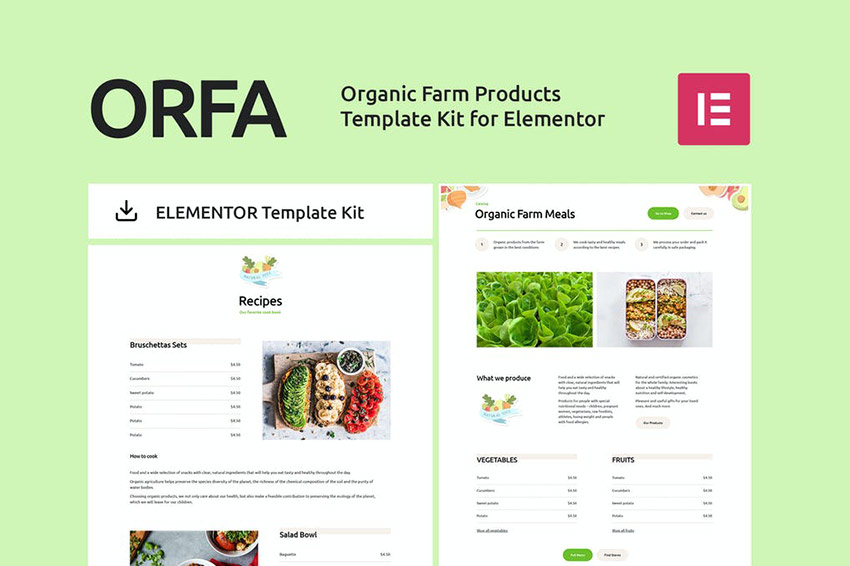 ORFA - Organic Farm Products Elementor Template Kit