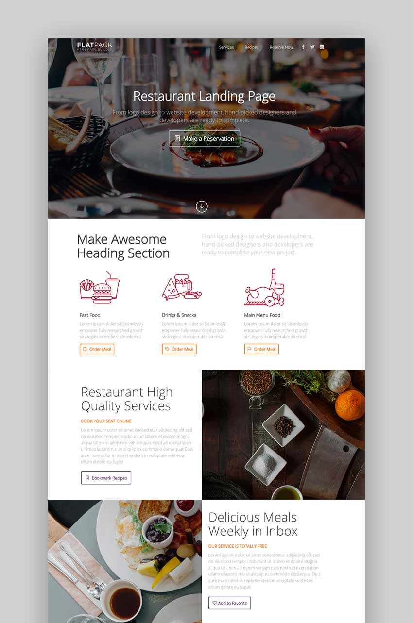 Flatpack Landing Pages Pack With Page Builder