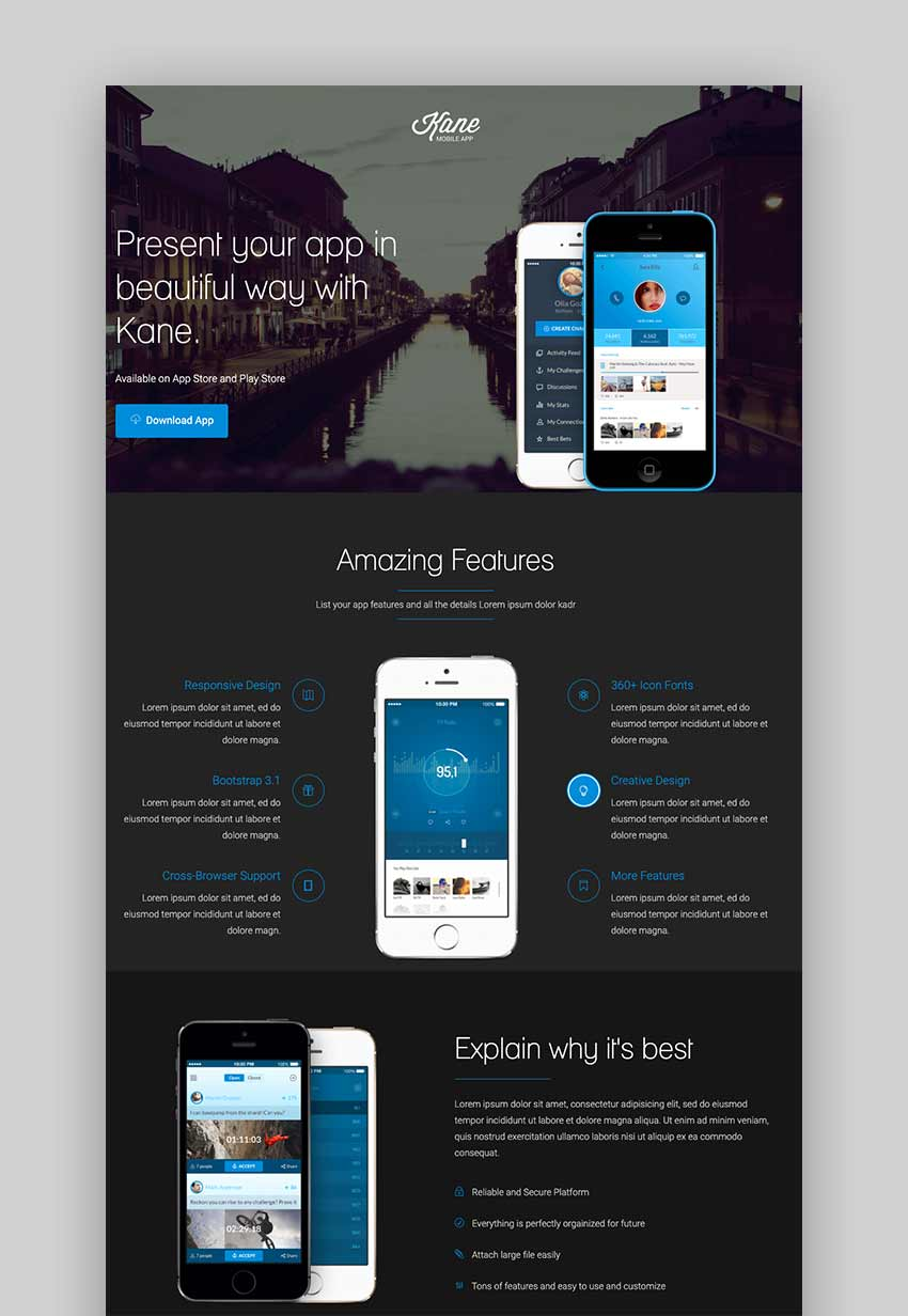 Kane - Responsive App Landing Page Builder