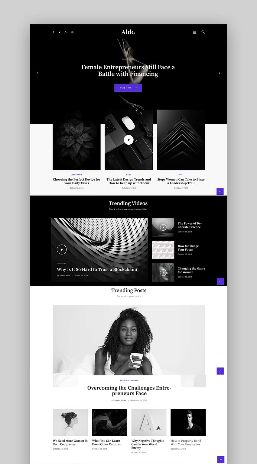 Aldo - Black and White Gutenberg Blog WordPress Theme