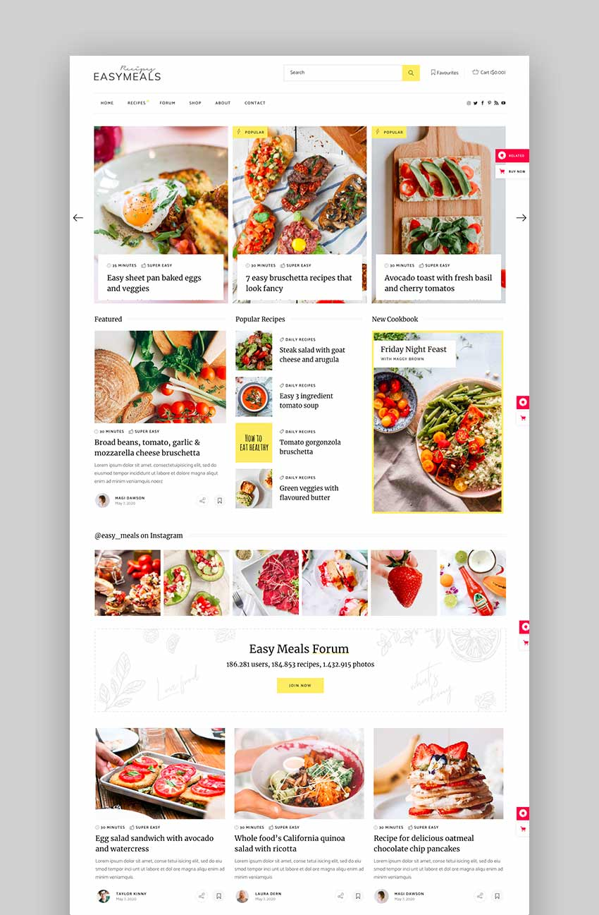 EasyMeals - Food Blog WordPress Theme