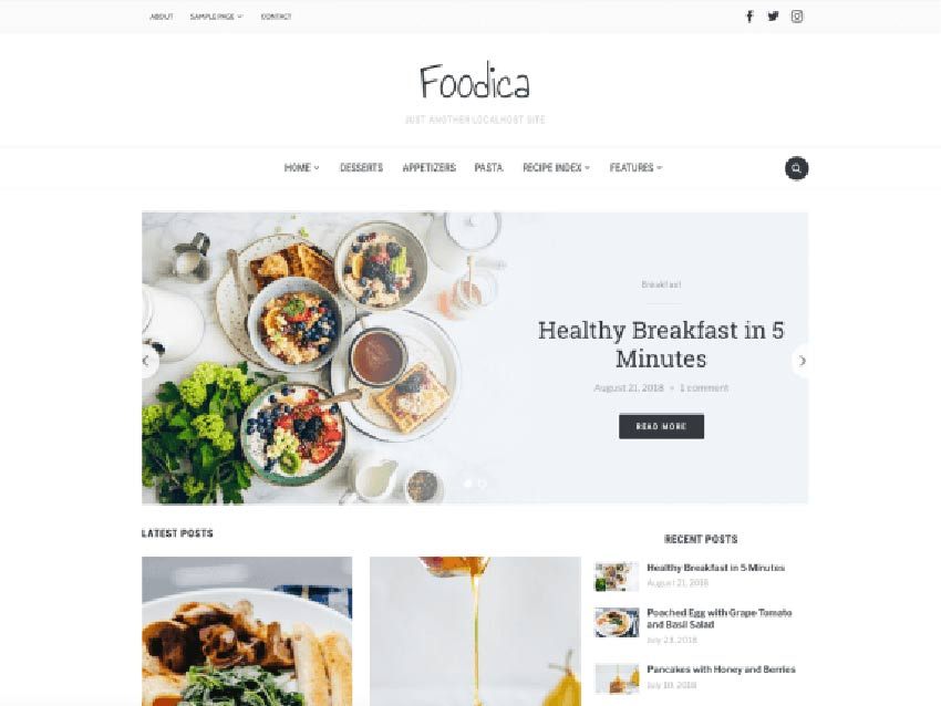 Foodica WordPress Recipe Theme Free