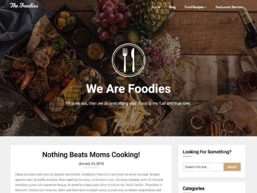 Foodie Blog WordPress Recipe Theme Free