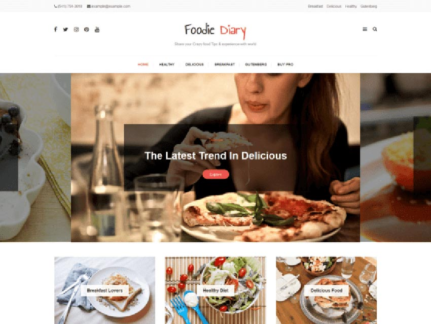 Foodie Diary WordPress Recipe Theme Free