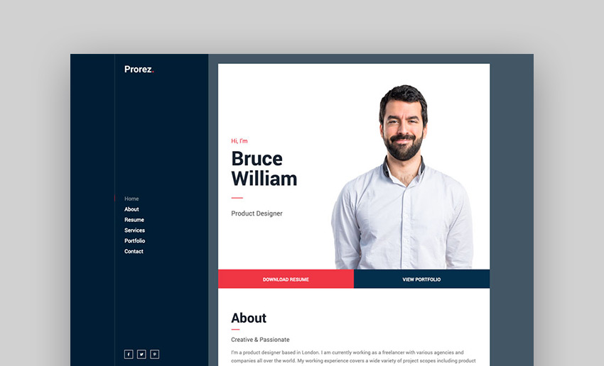 Prorez - One Page Resume WordPress Theme