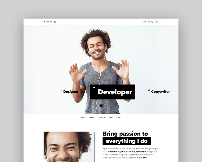 Rezo - Resume vCard CV WordPress