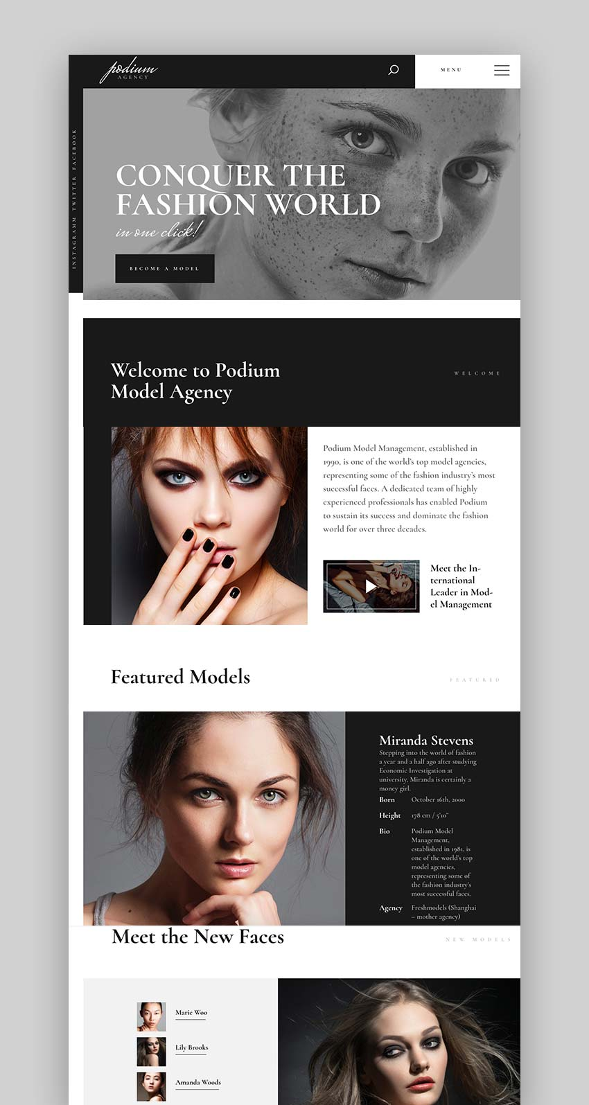Podium - Fashion Model Agency WordPress Theme