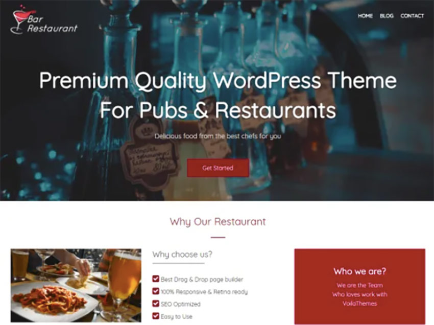 Bar Restaurant Free WordPress Wine Theme
