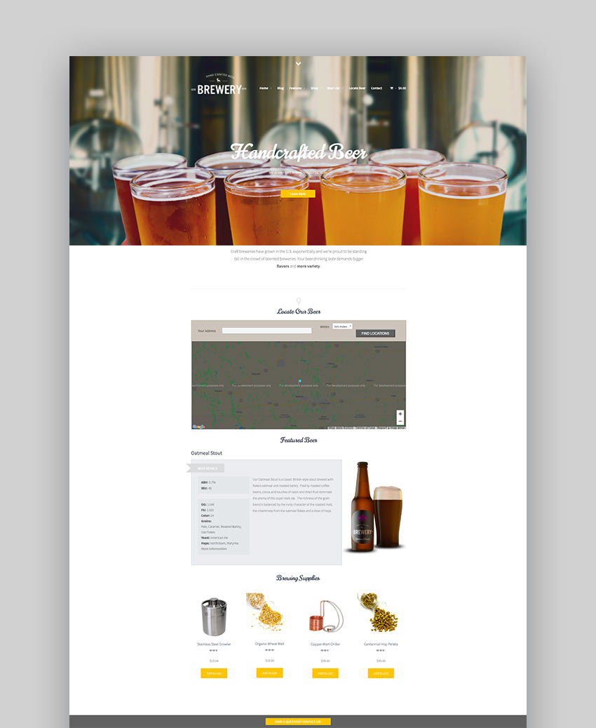 Brewery - A WordPress Theme for Beer Makers