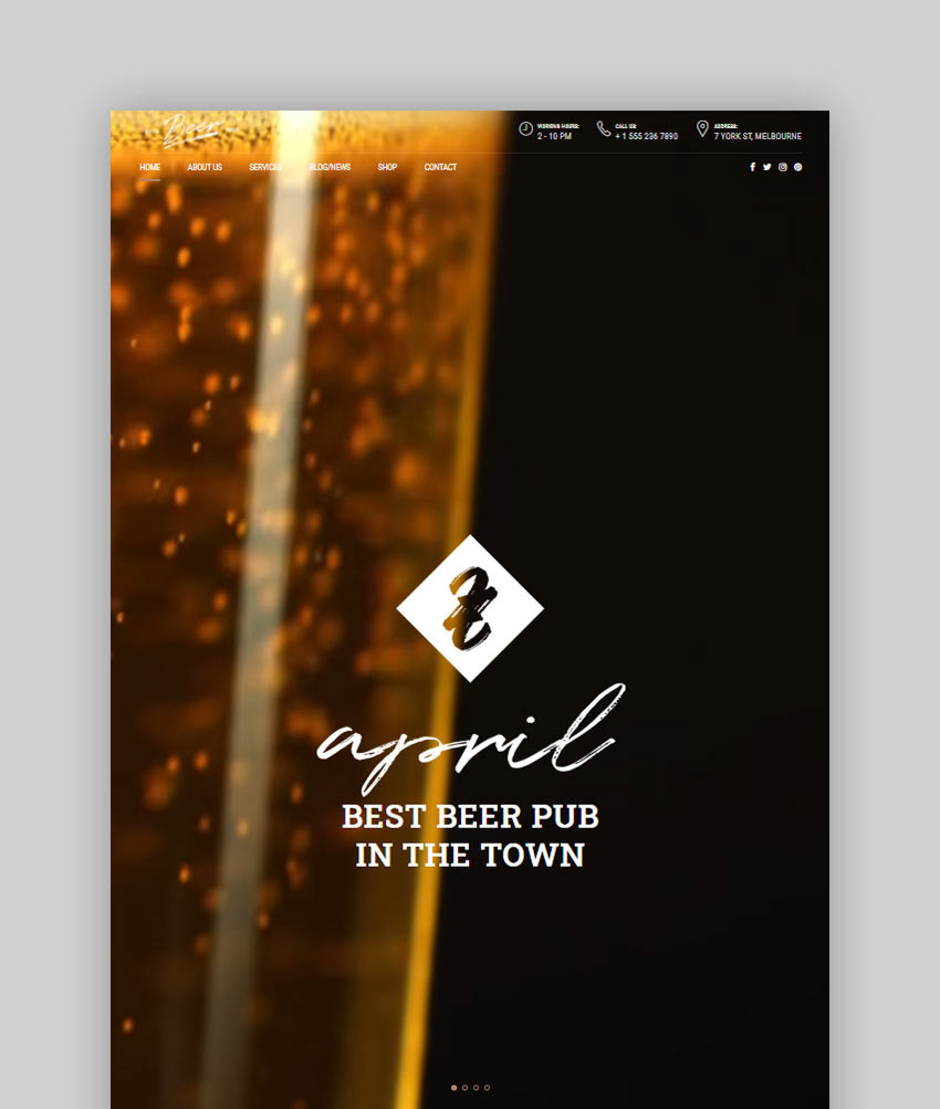 Craft Beer - Brewery Pub WordPress Theme
