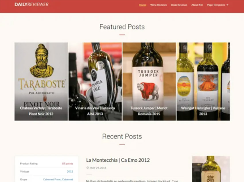 Reviewer Free WordPress Wine Theme