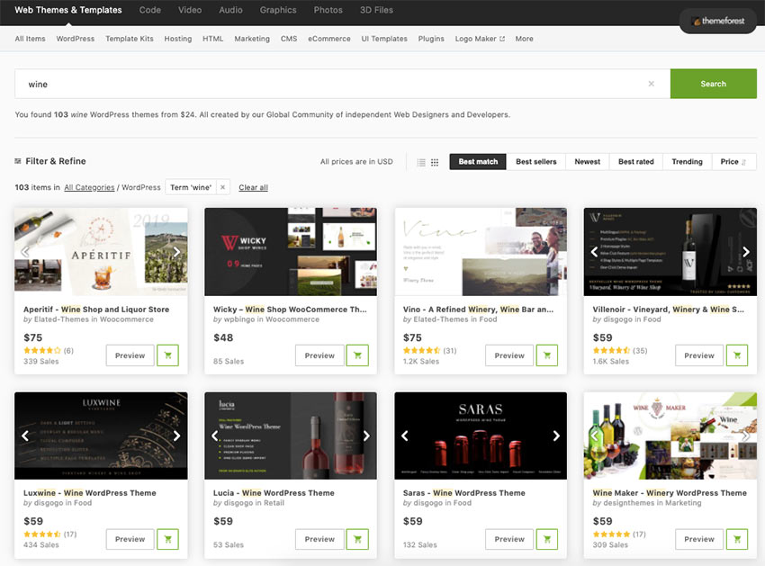 The best wine WordPress themes are available in ThemeForest