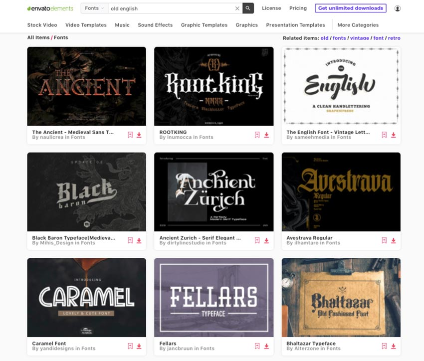 Get unlimited decorative old english fonts from Envato Elements