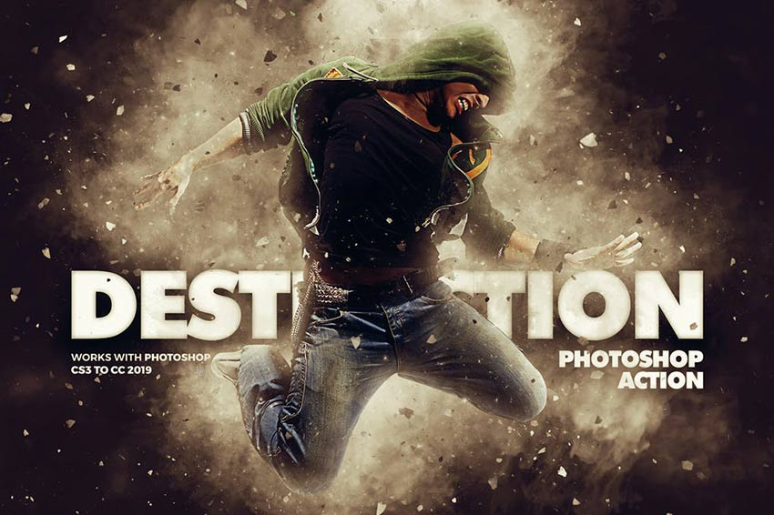 Destruction Photoshop Action - Explosion Effect