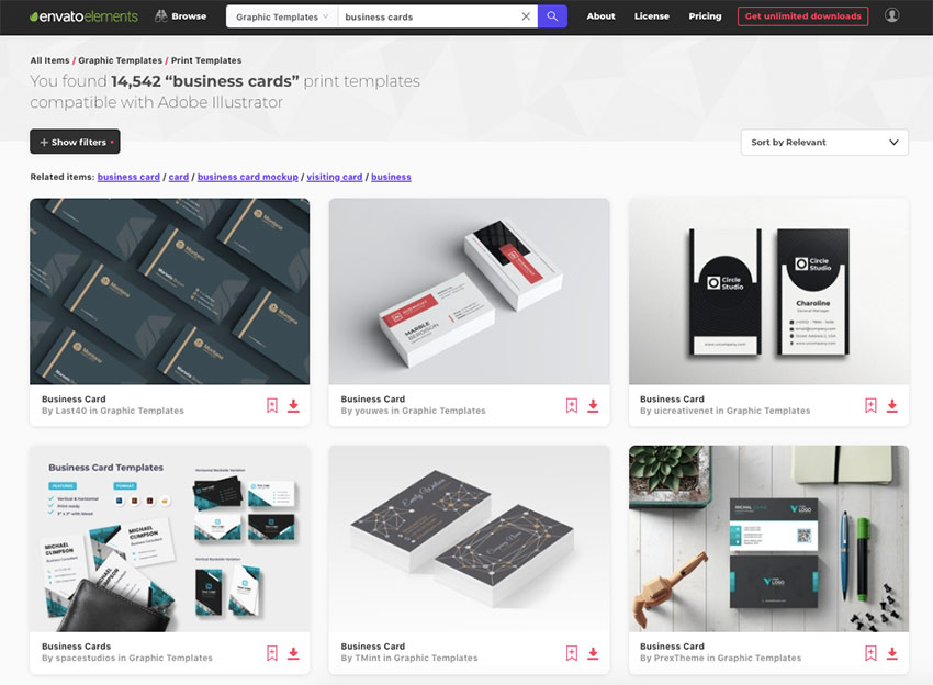 Envato Elements - download as many business card templates as you want
