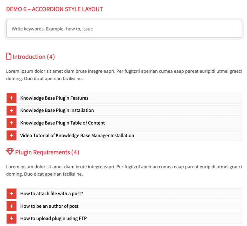 BWL Knowledge Base Manager WordPress Accordion