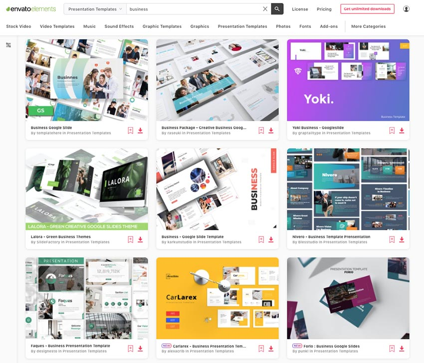 Elements Google Slides professional themes