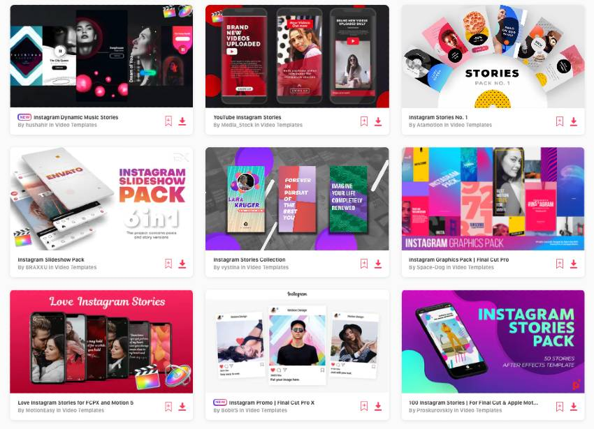 unlimited downloads of Instagram story video templates