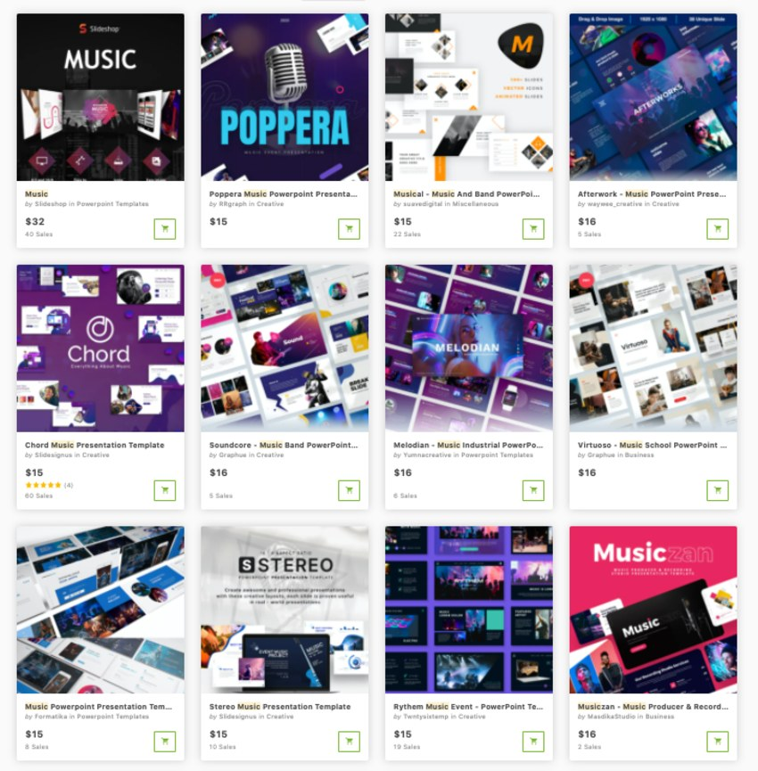premium music PowerPoint templates one at a time