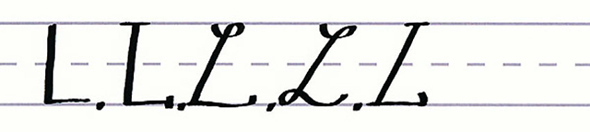 Calligraphy Writing Tutorial make your own font-uppercase l