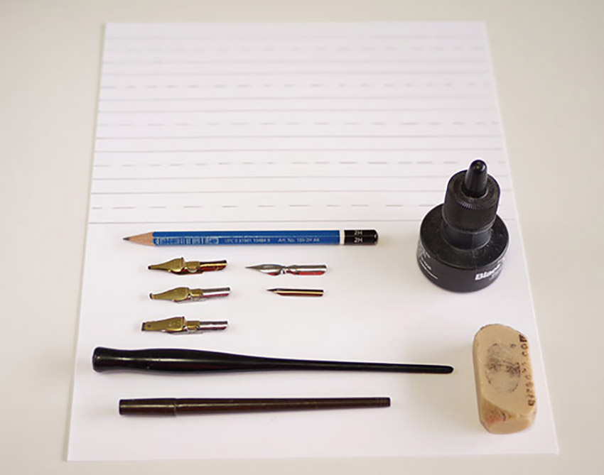 How to do Calligraphy Letters Tutorial supplies