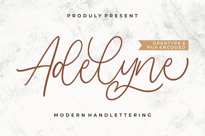 Adelyne Hand Lettering Calligraphy Fonts Download