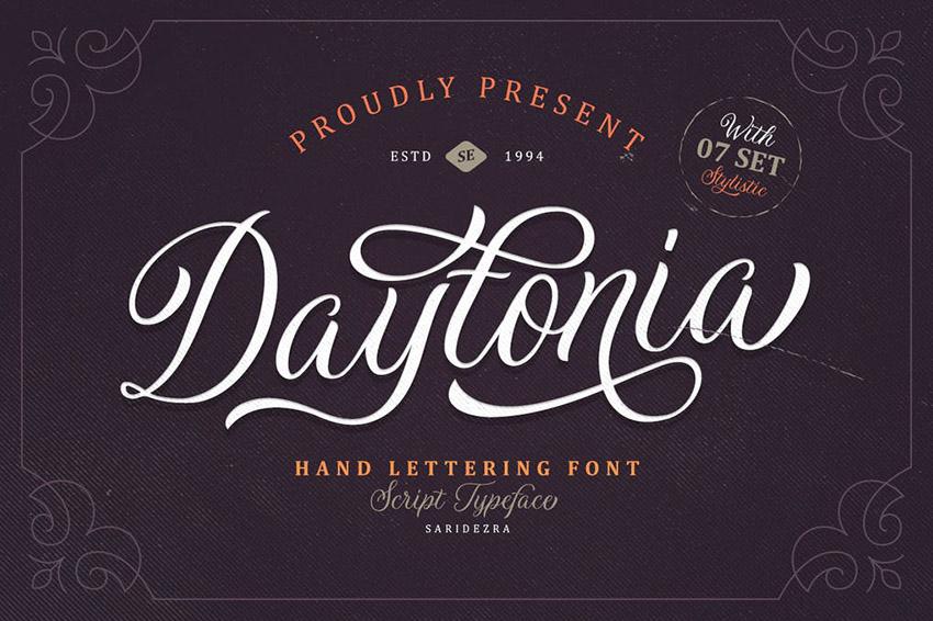 Daytonia Formal Script Alphabet Font Download