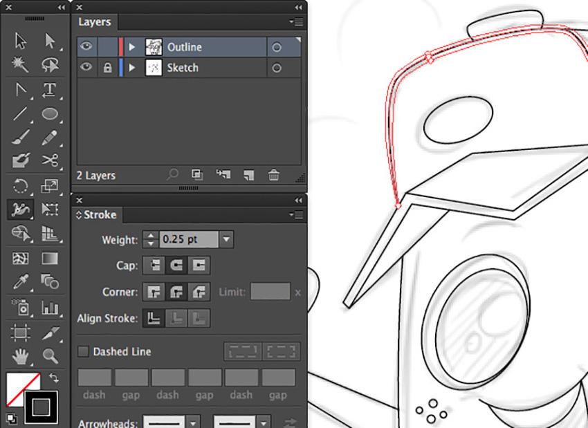 Mascot Character Design Tutorial adobe illustrator width tool shift w width stroke