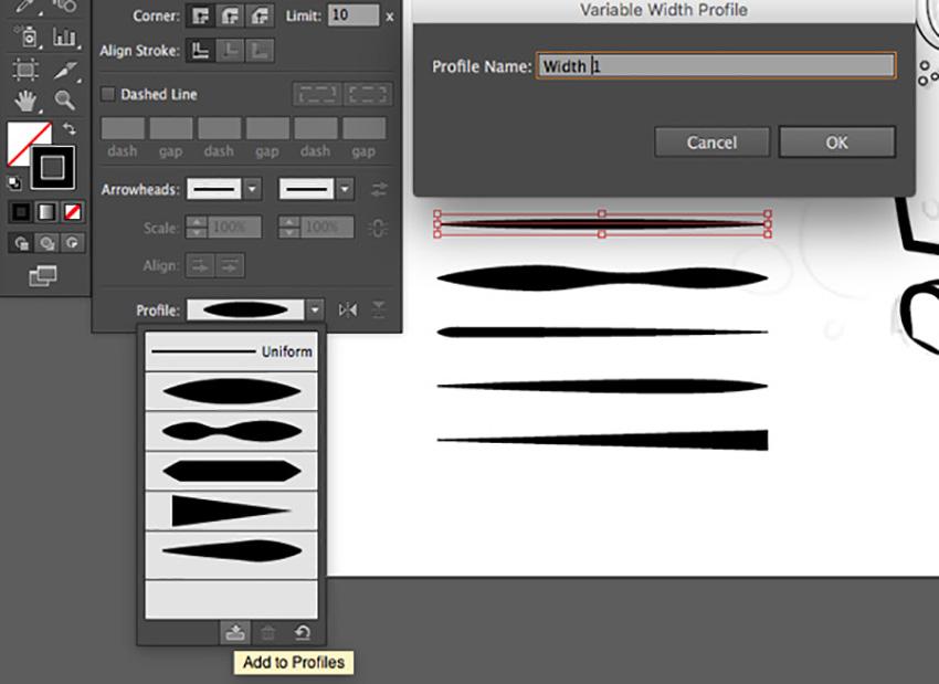Mascot Logo Design Tutorial variable width stroke save profile edit save adobe illustrator