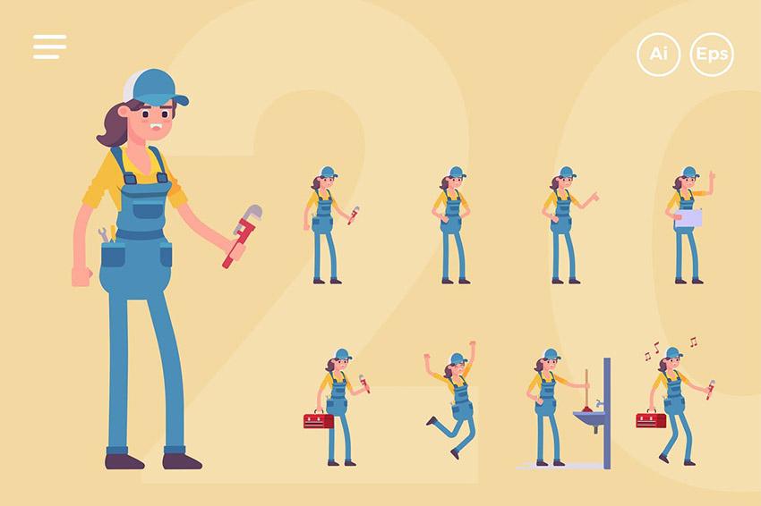 Female Plumber Download Mascot Logo Pack