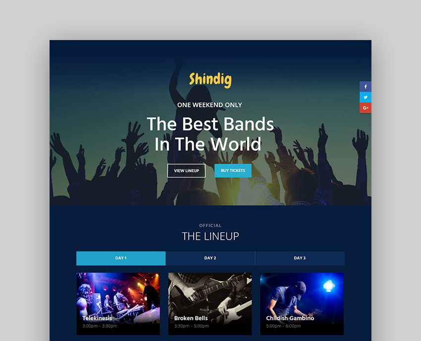 Shindig Event Website Template