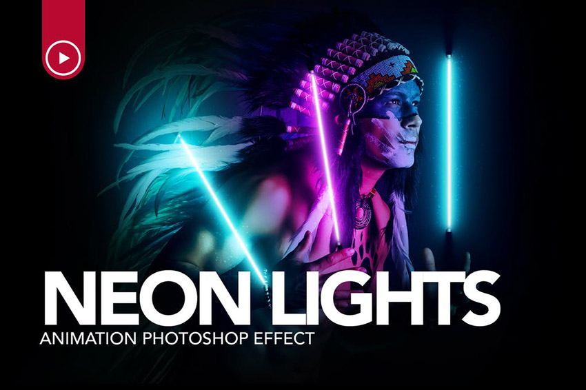 Gif Animated Neon Light Photoshop Action