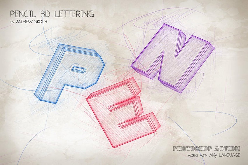 Pencil 3D Lettering Photoshop Action