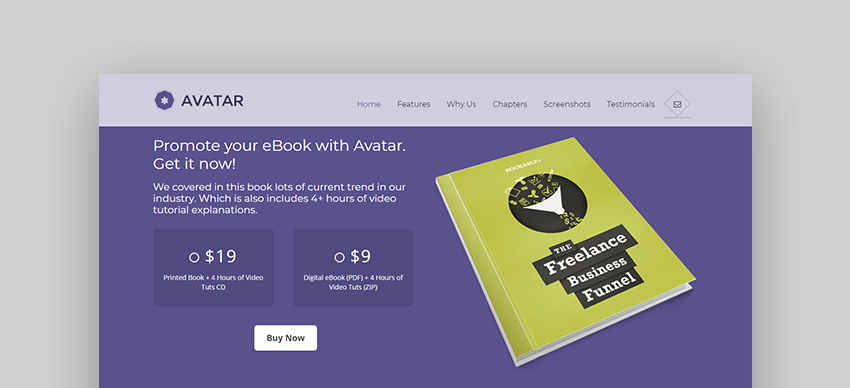 Avatar Multipurpose Book Landing Page WordPress Theme