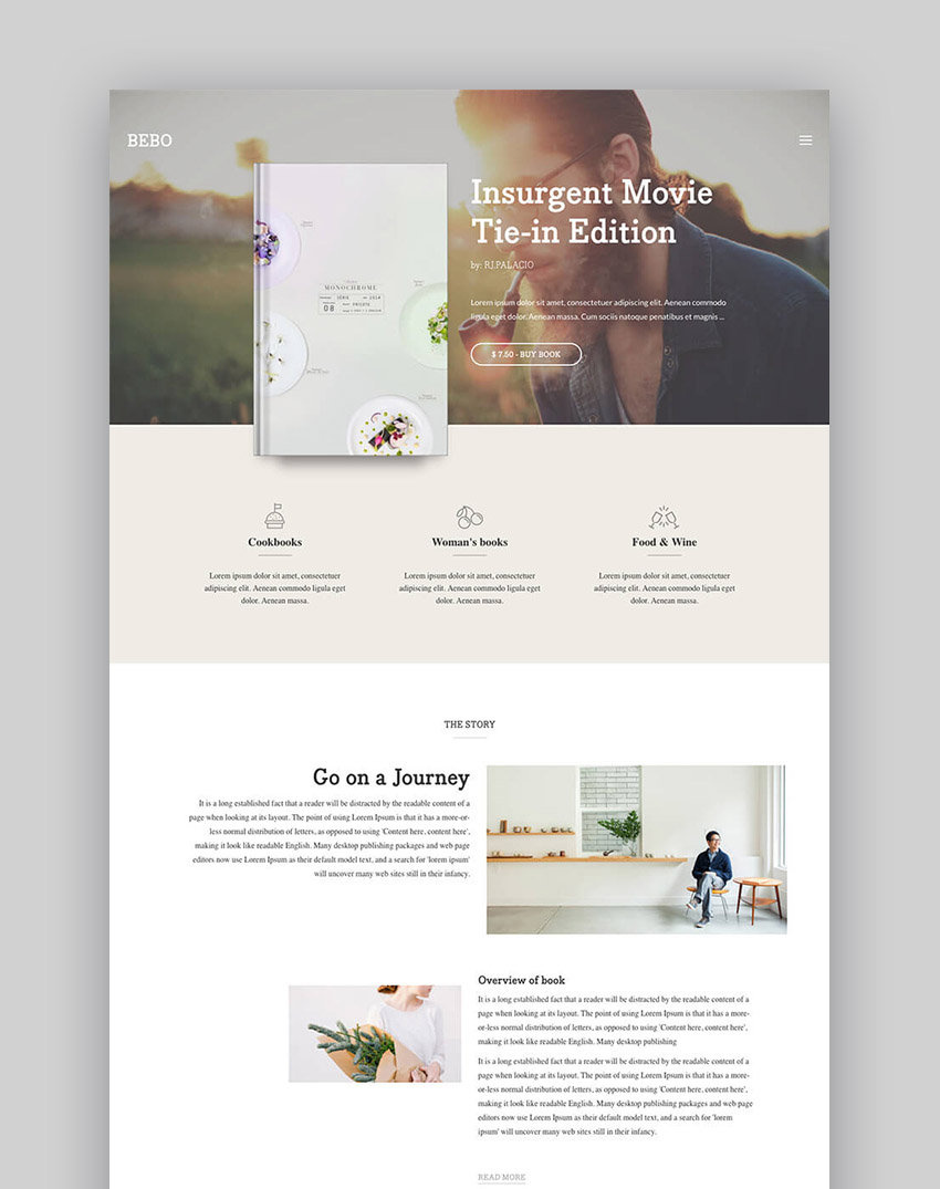 Bebo WordPress Book Selling Theme With Author Landing Page