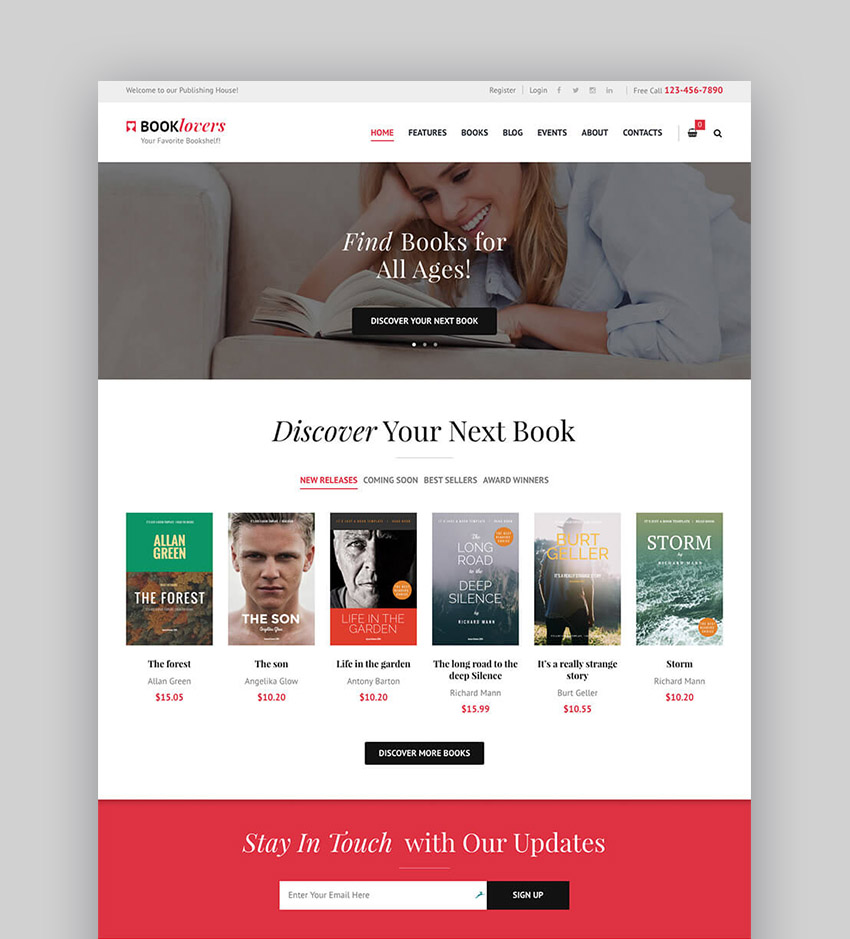 Booklovers Stylish eBook CMS WordPress Theme