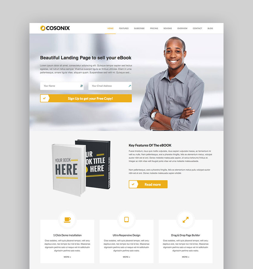 Cosonix landing page WordPress book theme