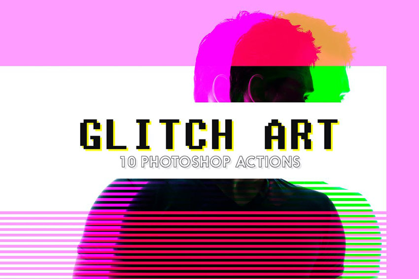 Glitch Effect Art Photoshop Action Download Pack