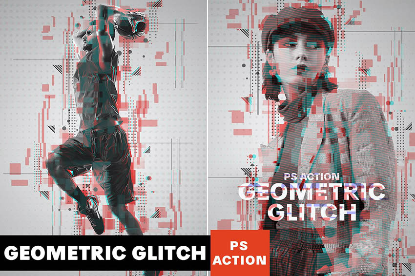 Geometric Glitch Photoshop Action Download