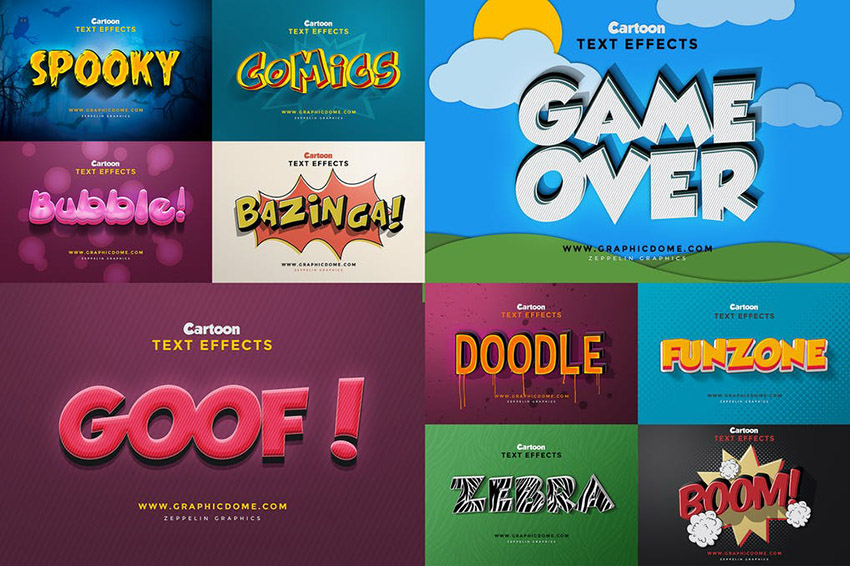 Adobe Photoshop Text Effects Download PSD Cartoon Style