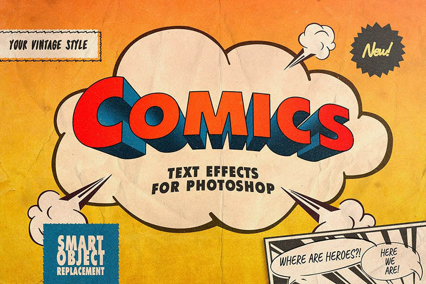 Image of envato elements vintage comics text effects XMB7RT