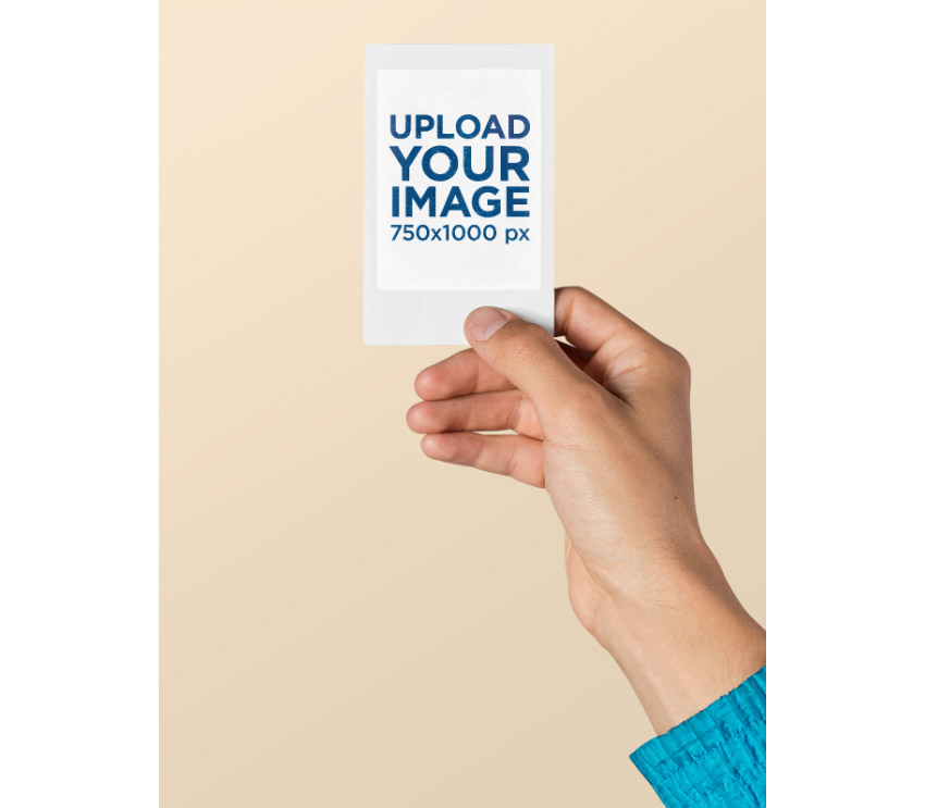 Hand Holding Polaroid Picture Template PNG