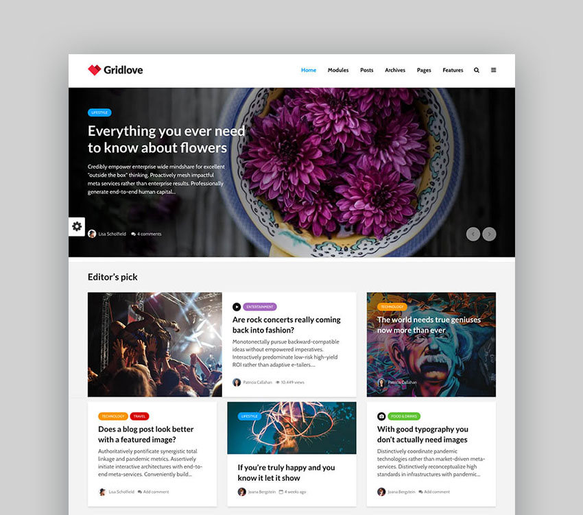Gridlove Simple Magazine WordPress Theme Design