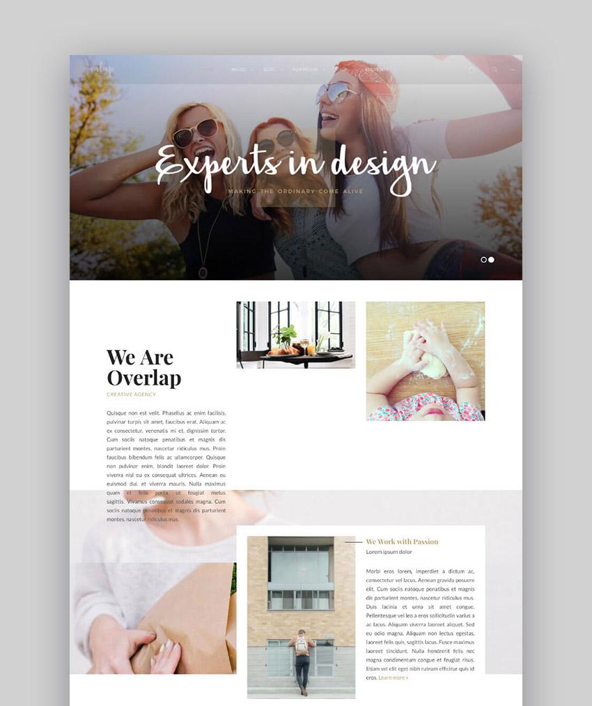 Overlap Clean WordPress Theme for Minimal and Modern Web Design