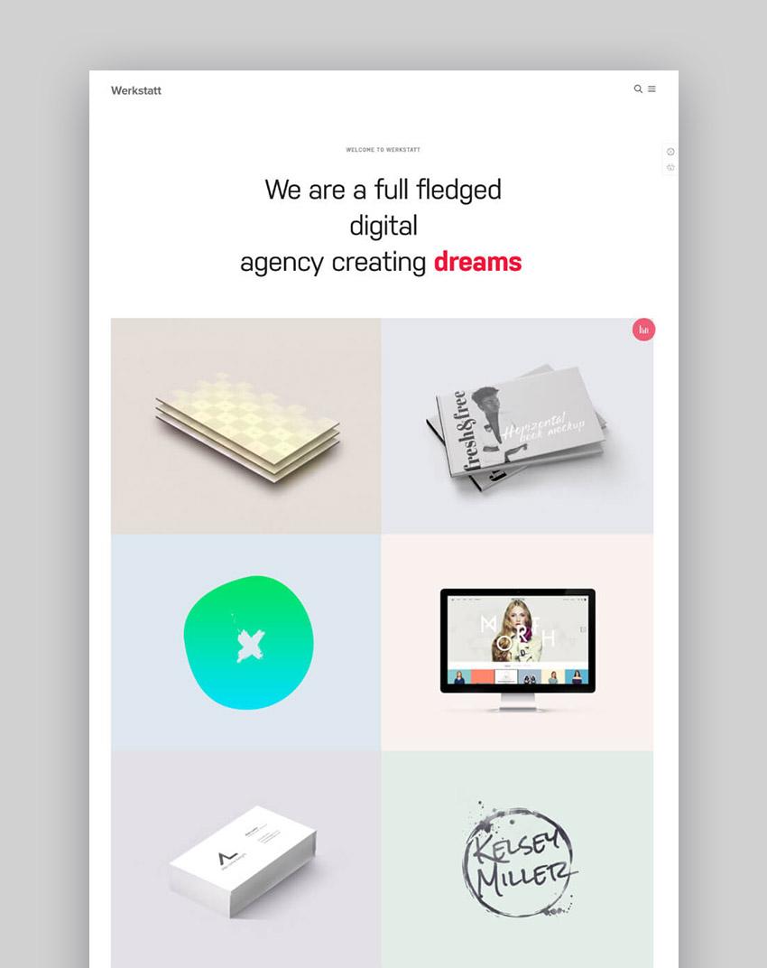 Werkstatt Creative Clean Design WordPress Theme for Portfolios