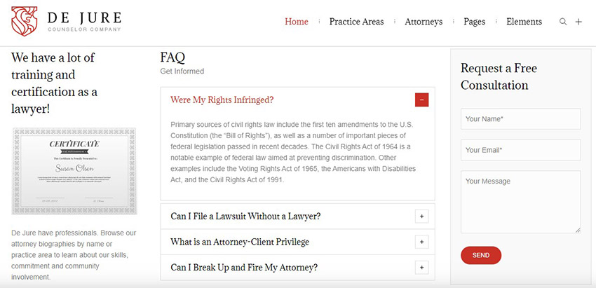 De Jure Lawyer WP Theme Consultation Form