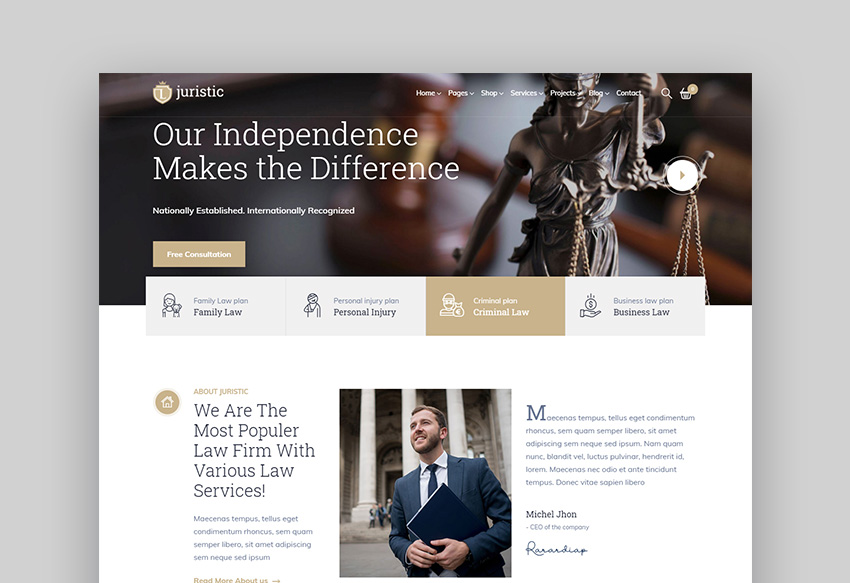 Juristic legal wordpress theme
