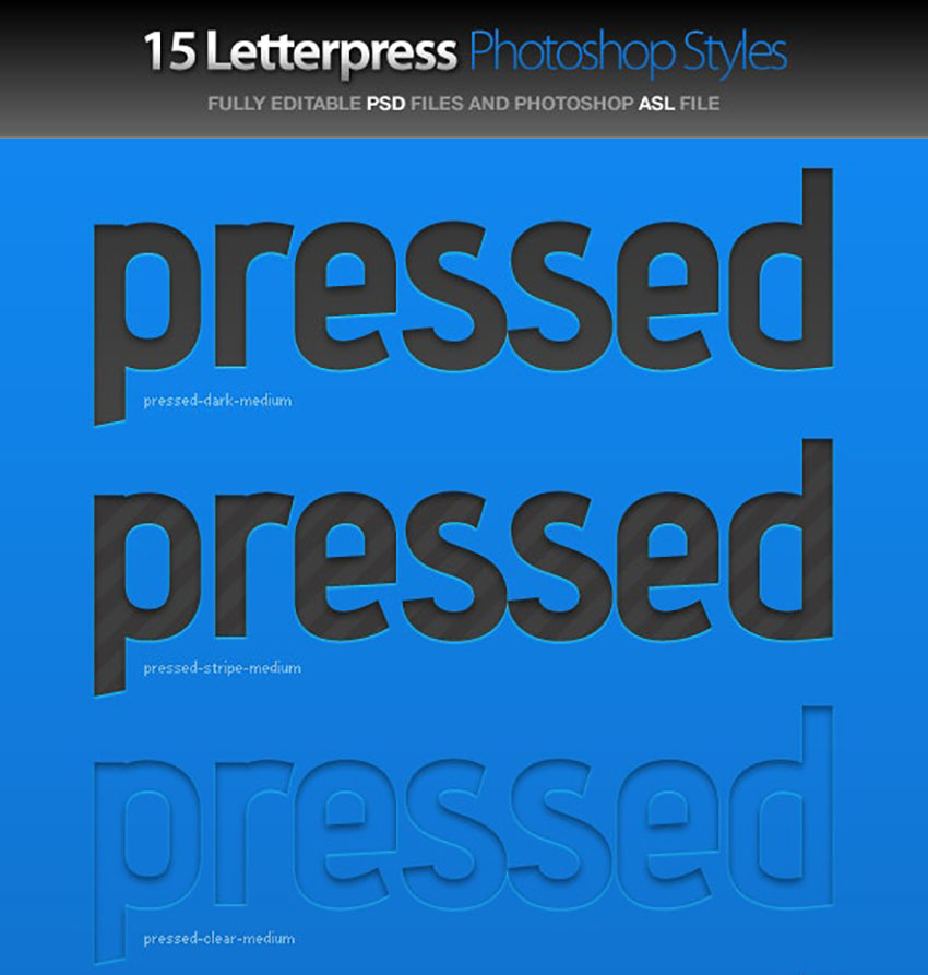 Pressed Letterpress Photoshop Styles