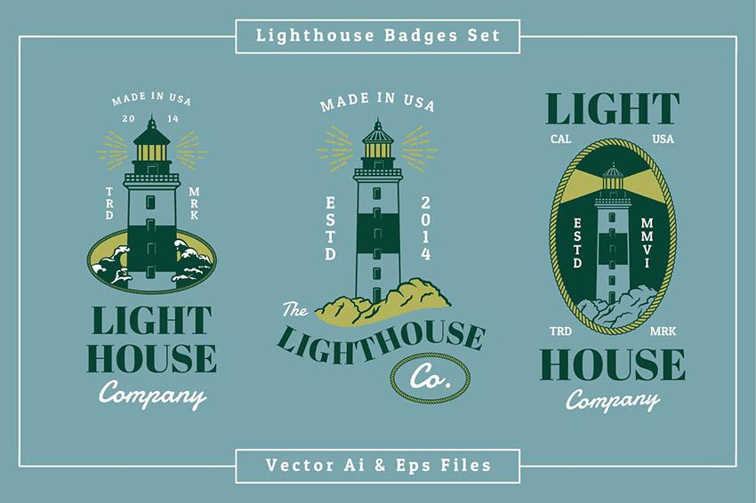 Lighthouse Badge Logo Design Template